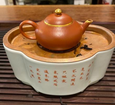 朱泥鑲金壺 潮州式茶承 磁製 崁銅