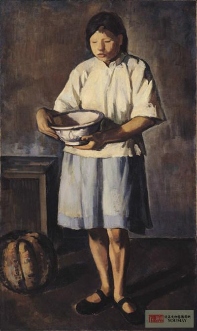 李梅樹 少女與金瓜